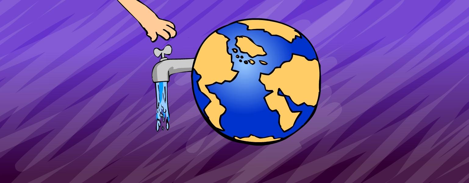 Ilustração. Fundo em tons de roxo. No centro da imagem, o planeta Terra em azul e marrom. Do lado esquerdo do planeta sai uma torneira prateada, de onde escorre água. Uma mão desce do lado esquerdo da imagem em direção à torneira.