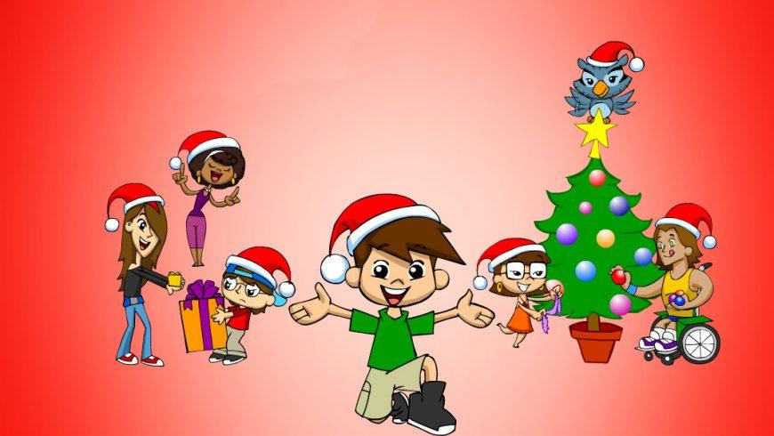 Ilustração. Sobre fundo vermelho, a Turma do Plenarinho toda está com gorro vermelho e branco de Papai Noel na cabeça. Do lado direito da imagem, Xereta e Vital decoram a árvore de natal. no topo da árvore, Edu arruma uma estrela amarela. No centro da imagem, Zé Plenarinho sorri e está com os dois braços abertos e um dos joelhos no chão. Do lado esquerdo, Ana Légis canta, Cida entrega um presente bem pequeno a Adão e Adão entrega um presente bem grande a Cida.