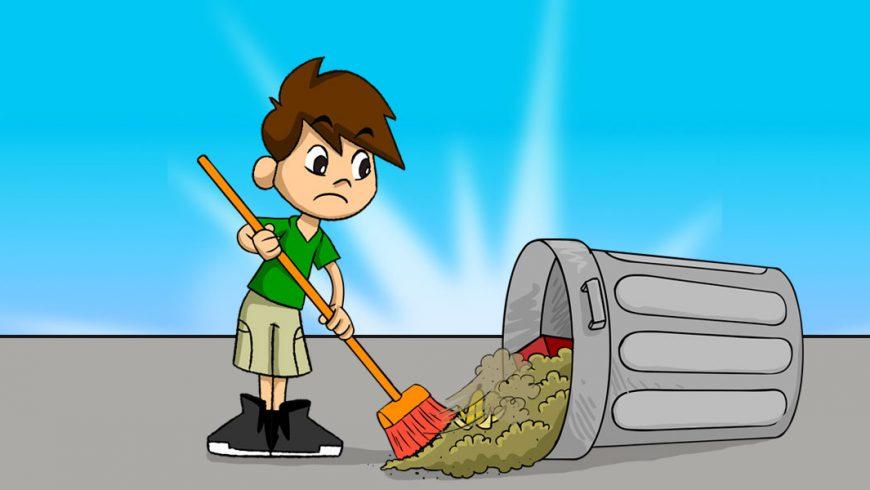 O fundo da ilustração é azul. Em pé sobre chão cinza, no centro da imagem, Zé Plenarinho varre lixo para dentro de uma lata de lixo cinza caída.