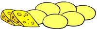 Ilustração. Dois pedaços que queijo amarelos com furinhos laranja. Do lado, bolinhas amarelas, que são pães de queijo