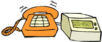 Ilustração. Telefone com fio cor de laranja e botões amarelos quadrados. Dele sai um fio curto amarelo que o liga a um aparelho amarelo quadrado com uma pequena tela esverdeada com os números: 123-4567.