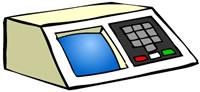 Desenho de uma urna eletrônica. É bege, com tela azul, botões cinza e abaixo dos cinza, um botão vermelho, um branco e um verde.
