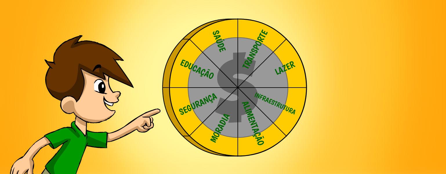 Ilustração. Zé Plenarinho está do lado esquerdo da imagem que tem fundo laranja. Ele aponta para uma circunferência laranja de fundo cinza que está no centro da imagem. A circunferência é dividida em 8 partes e cada uma delas traz uma palavra: saúde, transporte, educação, lazer, infraestrutura, alimentação, moradia e segurança.