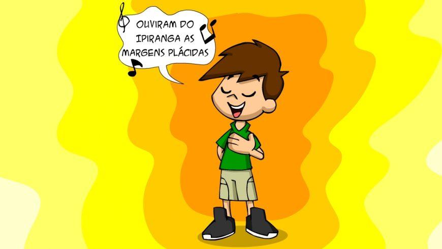 Ilustração com fundo em tons de laranja e amarelo. No centro, Zé Plenarinho está de olhos fechados e uma das mãos sobre o lado esquerdo do peito. Ele canta um trecho do Hino Nacional.