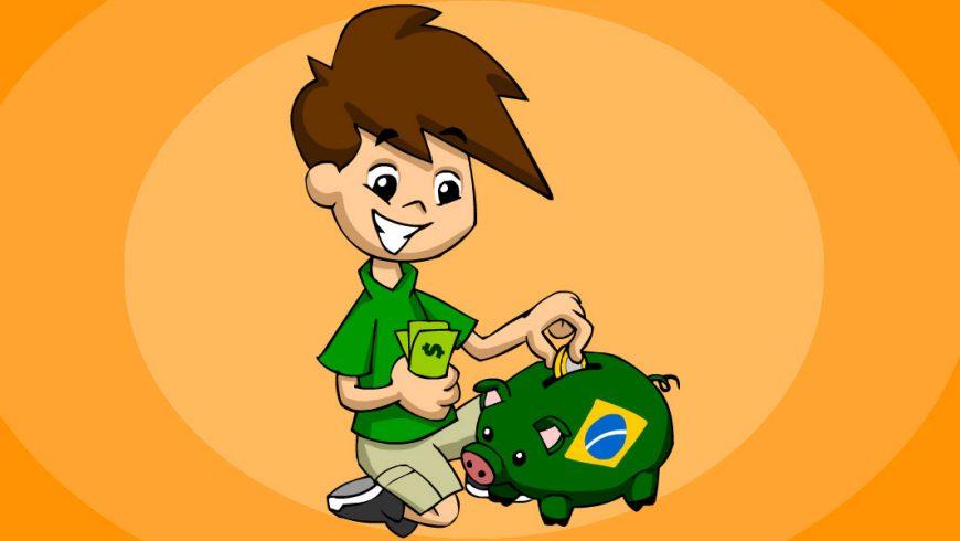 Ilustração. Fundo em tons de cor de laranja. No centro, Zé Plenarinho está ajoelhado. Com uma das mãos, segura notas verdes de dinheiro. Com a outra mão, guarda uma moeda dentro de um cofre em forma de porquinho com as cores da bandeira do Brasil.