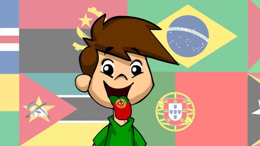 Ilustração. Fundo com imagens das bandeiras: Cabo Verde, Angola, Brasil, Guiana, Guiné- Bissau, Moçambique, Portugal e Timor Leste. Zé Plenarinho está no centro da imagem com a boca aberta e a língua para fora. Na sua língua tem o desenho da bandeira de Portugal.