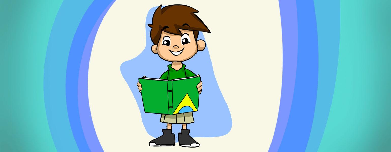 Ilustração. Fundo em tons de azul, verde e branco. No centro, Zé Plenarinho sorri e lê a Constituição Federal: um livro de capa verde, com um semicírculo azul na base e em volta do semicírculo, metade de um losango amarelo.