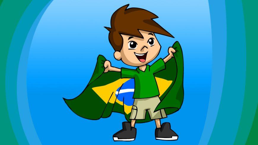 Menino de 12 anos. Tem pele clara, cabelos castanhos, lisos e espetados repartidos para o lado. Tem olhos grandes e negros e nariz pequeno e arredondado. Usa camisa polo verde, bermuda bege com bolsos laterais e tênis cinza de cano médio. Ele sorri e, com os braços abertos, segura a bandeira do Brasil atrás das costas com as duas mãos.