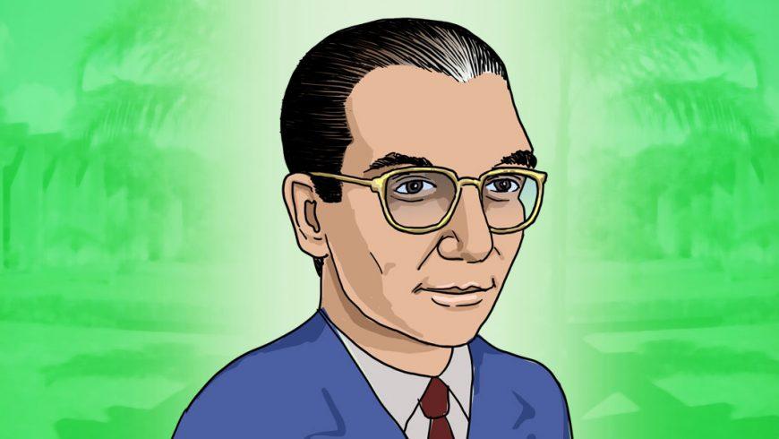 Ilustração. Fundo verde com imagem transparente de universidade. Ao centro, busto de homem na diagonal, com terno azul, camisa branca e gravata vinho. Ele sorri levemente. Usa óculos, cabelos grisalhos penteados para trás. O homem é Anísio Teixeira.