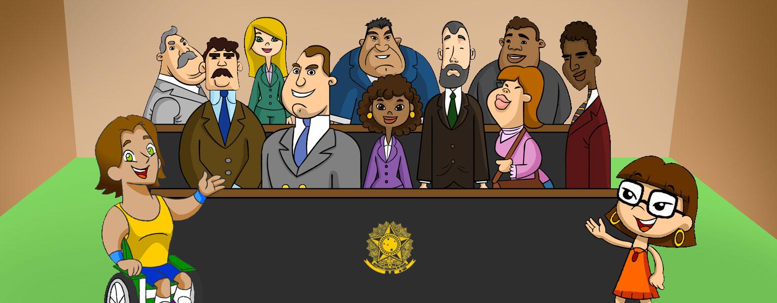 Ilustração. No centro da imagem, existe uma tribuna preta com detalhes marrons. Atrás dela, 10 deputados: 07 homens e 03 mulheres, todos com roupas sociais. De um lado da tribuna, Vital sorri e aponta para a tribuna com uma das mãos. Do outro lado, Xereta também sorri e aponta para a tribuna.