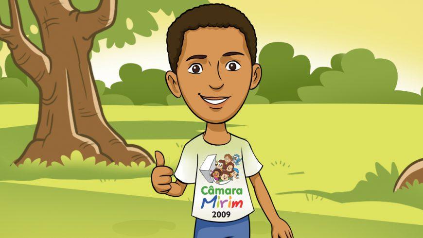 Ilustração. Ao centro, adolescente de pele morena e cabelos curtos, pretos enrolados, vestindo a camisa do Câmara Mirim 2009, e fazendo sinal de Ok com o polegar direito. Ao fundo, paisagem com grama, arbustos verdes, duas árvores com folhas e céu amarelado.