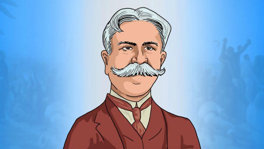 O desenho de um homem dos ombros para cima está no meio da imagem, sobre fundo em tons de azul. O homem tem os cabelos grisalhos, quase brancos e denso bigode da mesma cor. Ele veste terno marrom, camisa branca e gravata também marrom.