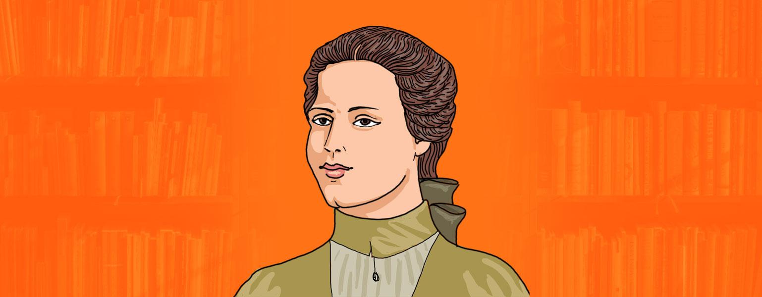 Ilustração. Sobre fundo em tons de cor de laranja, uma mulher aparece no centro, dos ombros para cima. Ela tem cabelos compridos, castanhos e presos atrás do pescoço. De pele clara e olhos castanhos, a mulher veste uma roupa de gola alta em tons de verde-claro.