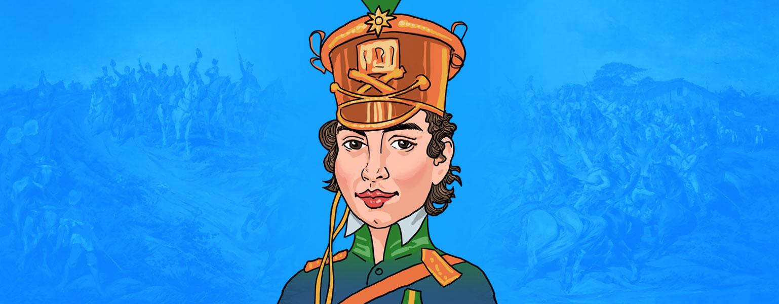 Ilustração com fundo em tons de azul. No centro, do ombro para cima, está Maria Quitéria. Uma mulher de cabelos curtos, castanhos e ondulados. Ela tem olhos castanhos e lábios rosados mostram um leve sorriso. Na cabeça, ela usa um chapéu comprido dourado, com um detalhe verde no topo. Usa farda azul, com faixa dourada e detalhes também dourados nos ombros.