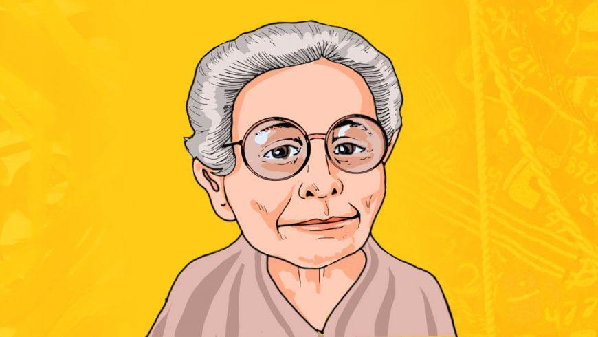 Ilustração. Fundo em tons de amarelo e laranja. No centro da imagem, aparece do ombro para cima, uma senhora de pele clara, cabelos curtos grisalhos. Ela usa grandes óculos de armação redonda e seus olhos são castanhos. Algumas rugas aparecem em volta do leve sorriso. Ela usa roupa bege.