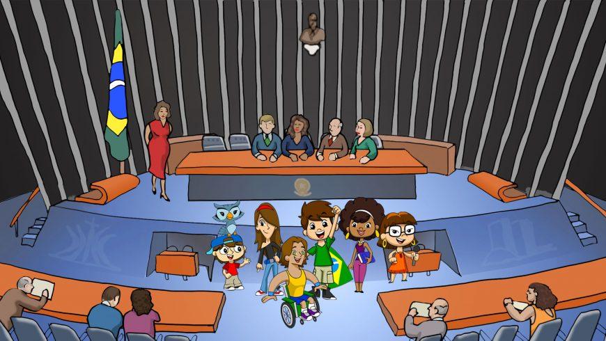 Ilustração. Plenário do Senado Federal, com senadores à Mesa e Turma do Plenarinho nos corredores, à frente