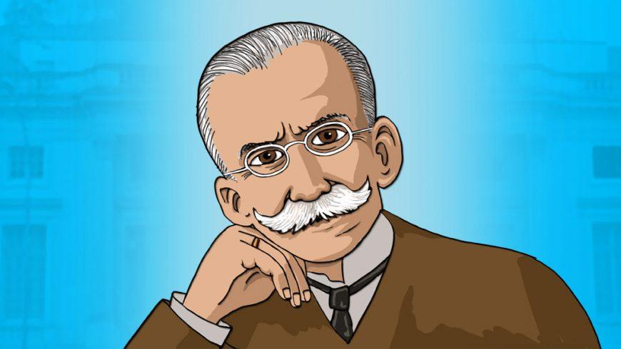 Ilustração. Fundo azul em degradê, com imagem em transparência do prédio da Academia Brasileira de Letras. Ao centro, busto de homem com paletó marrom, camisa branca, gravata preta. Ele olha para frente, apoia a mão direita no queixo. Ele sua bigodes, óculos, cabelos grisalhos penteados para trás. O homem é Ruy Barbosa.