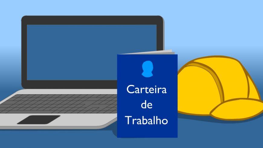"""Ilustração. sobre um fundo azul: um computados laptop cinza aberto, do lado do computados, uma carteira de trabalho. É um documento retangular azul e na frente está escrito """"carteira de trabalho"""" em letras brancas. Do lado do documento está um capacete arredondado amarelo."""