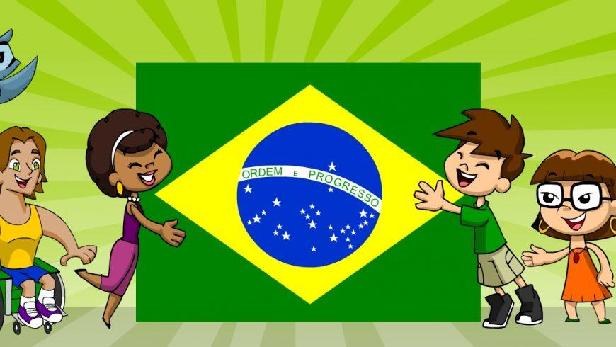 Ilustração. No meio da imagem de fundo verde-claro, uma grande Bandeira do Brasil é abraçada por Ana Légis e Zé Plenarinho, um de cada lado da bandeira. Do lado direito, Xereta e Adão e do lado esquerdo, Cida, Vital e Edu Coruja. Todos sorriem.