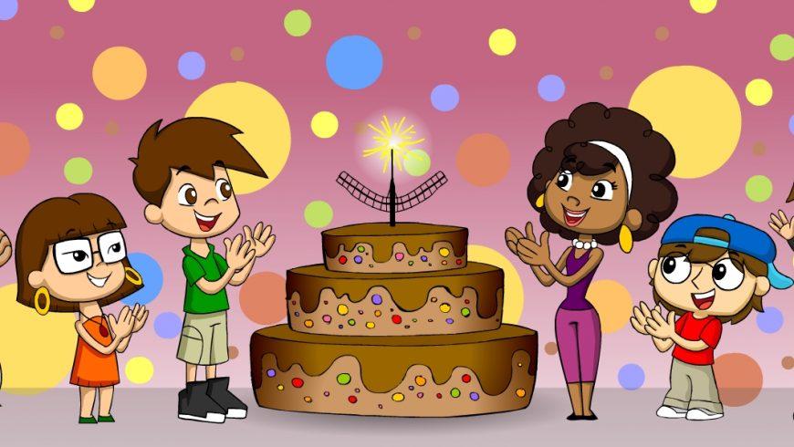 Ilustração. No meio da imagem, em frente ao funso cheio de bolas coloridas, há um grande bolo marrom de três andares. Ele também é decorado com bolinhas coloridas e a vela, no topo do bolo, tem a forma do desenho de Brasília: um avião estilizado. Em volta do grande bolo, a Turma do Plenarinho sorri e bate palmas.