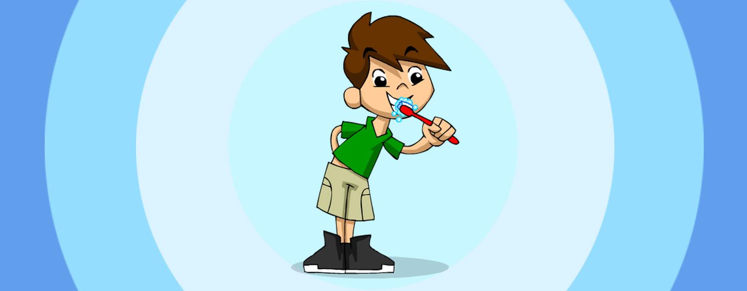 Ilustração. No centro da imagem com fundo em tons de azul, Zé Plenarinho está em pé, com um dos braços para trás e, com a outra mão, escova os dentes com uma escova vermelha.