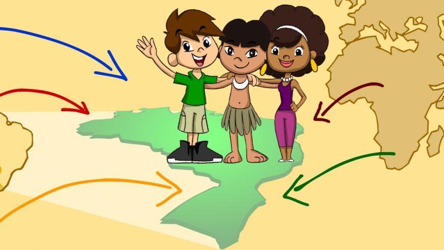 Ilustração. Zé Plenarinho e Ana Légis abraçam um menino indígena. Os três pisam sobre o desenho do mapa do Brasil verde-claro. Em volta do mapa do Brasil, desenho, em marrom, do mapa de outros países e continentes, de onde saem setas coloridas que apontam para o mapa verde.