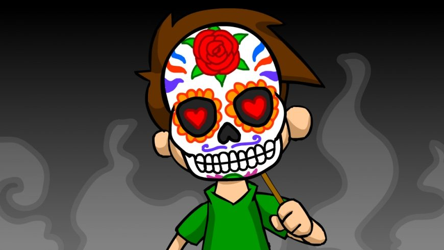 Ilustração. Fundo em tons de preto e cinza. Ao centro, Zé Plenarinho segura máscara de caveira com desenhos coloridos. Uma flor na testa, corações nos olhos, traços coloridos em torno do dos desenhos. No lugar da boca, aparecem os dentes da caveira.