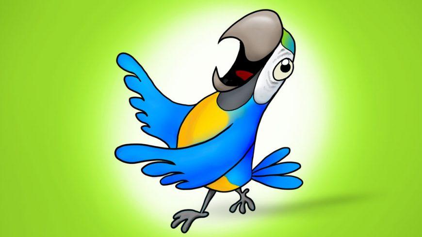 Ilustração de uma arara no centro da imagem com fundo verde. A arara é azul, com a barriga amarela. Seu grande bico cinza está aberto e o olho arregalado. As asas estão para frente, como se dançasse.