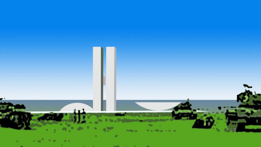 Ilustração. Desenho do Congresso Nacional no centro da imagem sobre céu azul. Na frente do Congresso, sobre o gramado verde, aparecem tanques de guerra desenhado de forma embaçada.