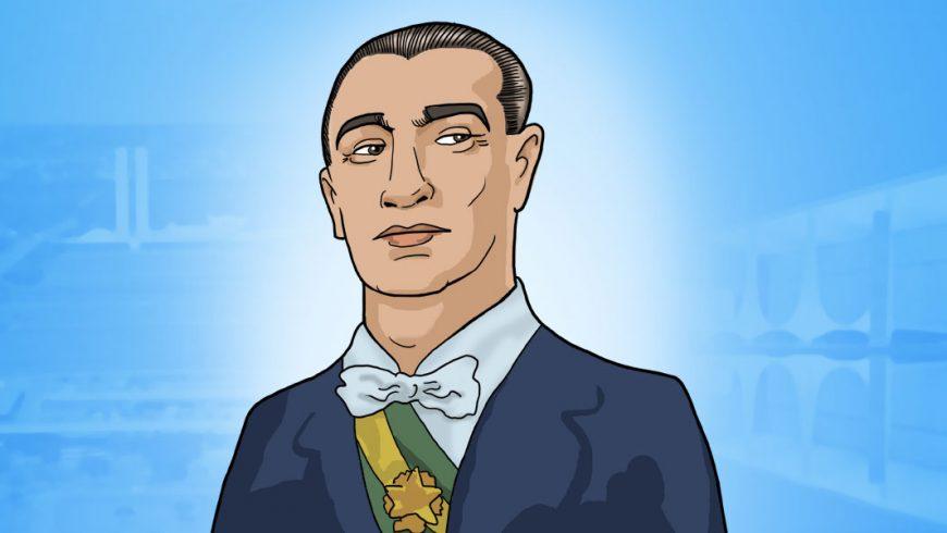 Ilustração. O fundo é azul e imagens da cidade de Brasília aparecem quase transparentes. No centro da imagem, um homem aparece dos ombros para cima. Ele tem pele morena-clara, cabelos curtos escuros penteados para trás. Tem sobrancelhas escuras e olhos castanhos que olham levemente para um lado. Ele veste um paletó azul escuro, camisa branca, gravata borboleta branca e uma faixa verde e amarela sobre a camisa.