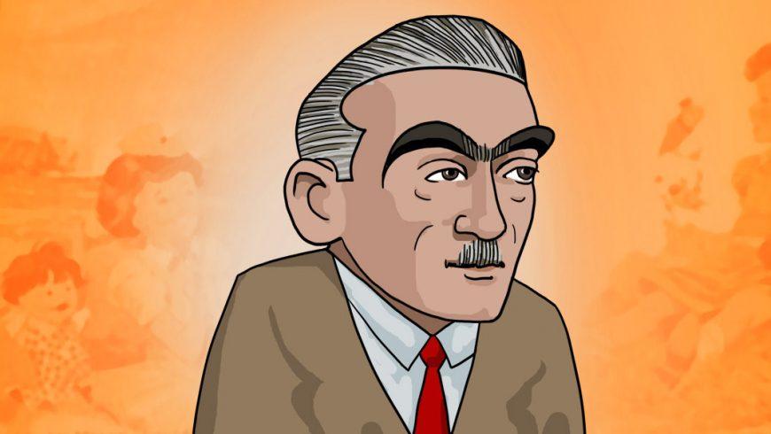 Ilustração. Fundo em tons de cor de laranja. No centro da imagem, um homem aparece dos ombros para cima e olha ligeiramentepara o lado direito da imagem. Ele tem cabelos grisalhos, curtos e penteados para trás. As grossas sobrancelhas escuras se juntam acima do nariz. Rugas aparecem abaixo dos olhos e dos lados do estreito bigode grisalho. O homem veste terno bege, camisa branca e gravata vermelha;