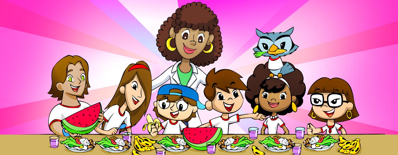 Ilustração. Toda a Turma do Plenarinho está em frente a uma mesa cheia de comidas. Frutas, copos de suco, pratos com salada, arroz, feijão e ovo. Atrás deles, uma mulher morena de cabelos cacheados castanhos na altura dos ombros, grandes olhos castanhos olha para as crianças e sorri. Ela veste jaleco branco sobre camiseta verde.