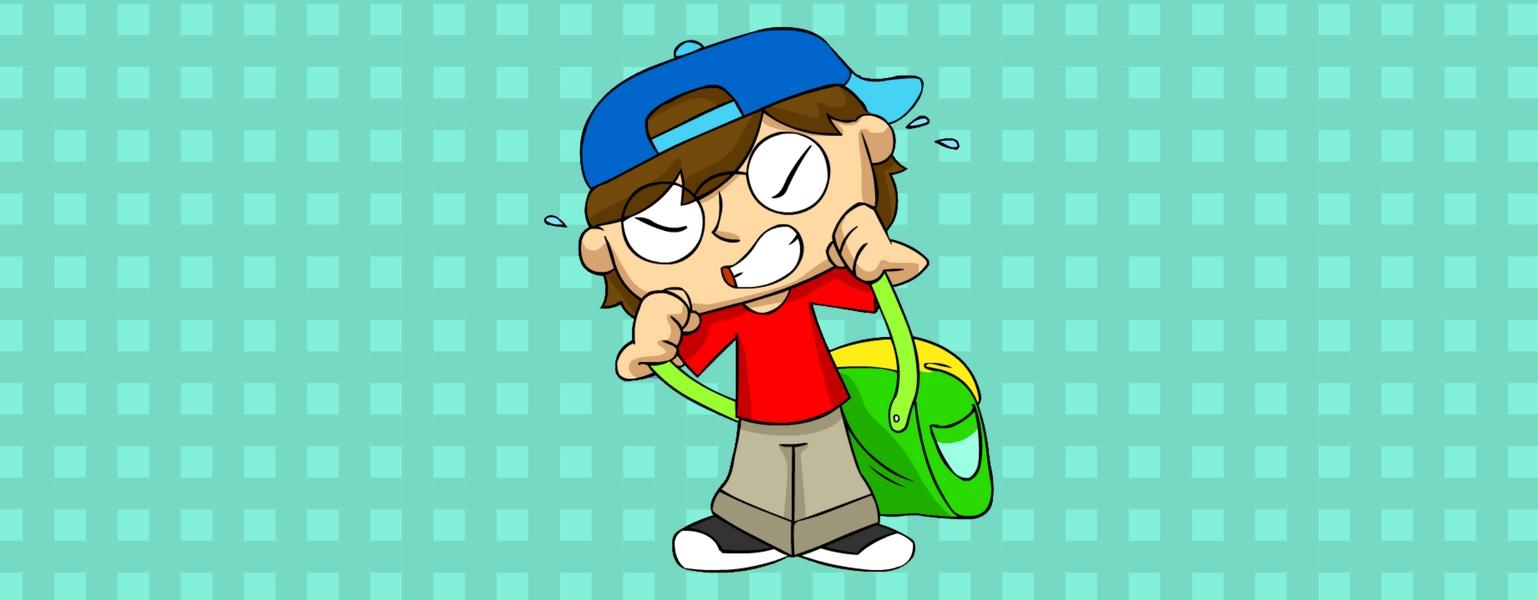 Ilustração. Adão está no centro da imagem sobre o fundo quadriculado em tons de azul. Adão se esforça para colocar a mochila pesada nas costas.