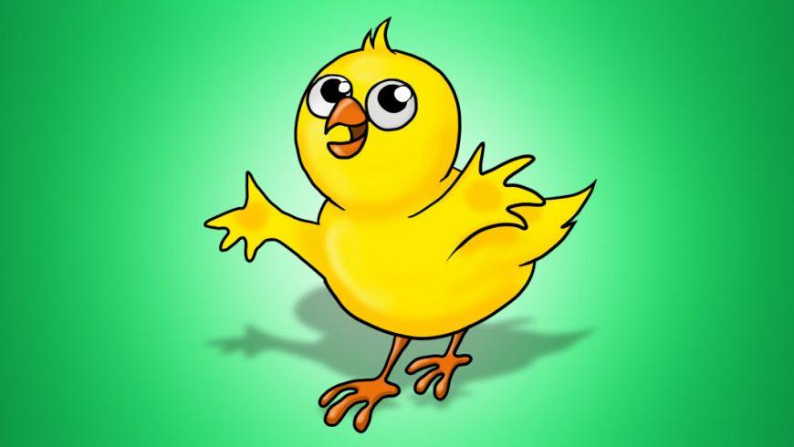 Ilustração de um pintinho amarelo no centro da imagem de fundo verde. O pintinho está com as asas abertas, olha para cima com seus grandes olhos redondos e sorri.