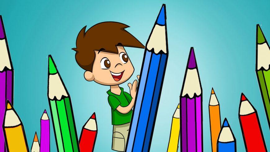 Ilustração. Sobre fundo azul, Zé Plenarinho está no meio da imagem e segura um grande lápis azul mais alto que ele. Dos dois lados da imagem, vários outros grandes lápis coloridos aparecem espalhados pela imagem.