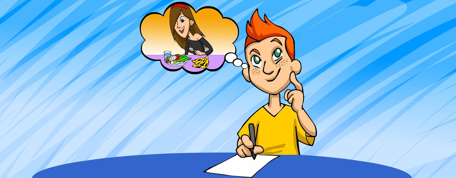 Ilustração. Sobre fundo azul claro, um menino ruivo de olhos verdes e sardinhas no rosto veste camiseta amarela e está sentado em frente a uma mesa azul. Ele segura um lápis sobre papel branco e tem expressão pensativa. Um balão de pensamento parece sair da cabeça do menino e, dentro dele, aparece o desenho da Cida, que olha sorridente para uma refeição bastante colorida.