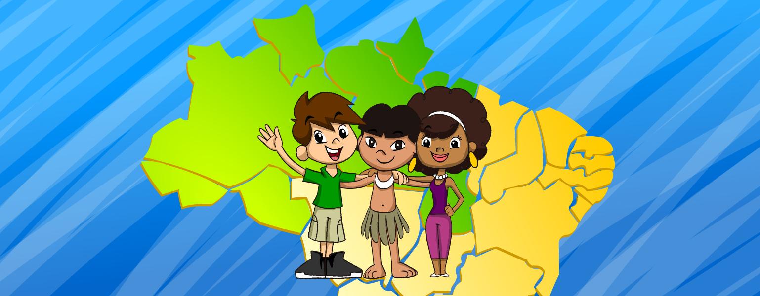 Fundo em tons de azul. No centro da imagem, aparece o desenho do mapa do Brasil em verde e amarelo. À frente do mapa, aparecem Zé Plenarinho, Légis e uma criança indígena, que veste uma saia bege e um colar branco. A criança está entre Zé e Légis, virados para a frente e os três se abraçam e sorriem.