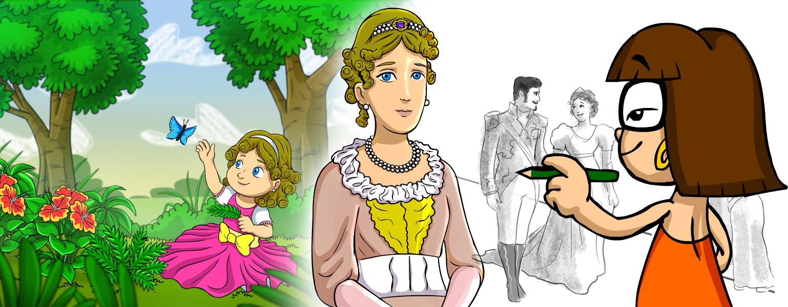Ilustração. No centro da imagem, aparece o desenho da Princesa Leopoldina. ELa tem cabelos louros cacheados e presos com uma tiara com pedra azul. Ela tem olhos azuis e veste vestido pomposo bege, com detalhes em branco e amarelo. Do lado direito da imagem aparece Xereta de costas. Ela desenha com um lápis verde esboços de Dom Pedro e da Princesa de mãos dadas. DO lado esquerdo, aparece uma floresta com árvores e plantas e a princesa aparece criança, com vestido rosa e brinca com uma borboleta azul.