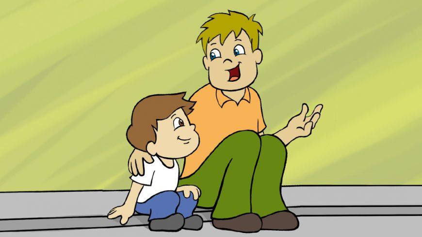 Ilustração. Um adulto e uma criança estão sentados em uma calçada cinza. O adulto tem cabelos claros e olhos azuis. Veste camiseta laranja e calça verde. Ele olha para a criança e sorri, enquanto estende um dos braços e repousa a outra mão no ombro da criança. O menino, de cabelos castanhos, veste camiseta branca e calça azul e observa atentamente o adulto.