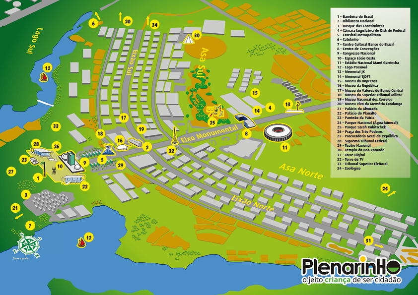 Resultado de imagem para mapa turístico de brasília