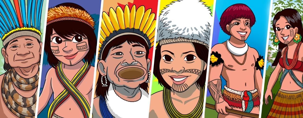 A ilustração está dividida verticalmente em seis partes e cada uma delas traz uma pessoa indígena com adereços e vestimentas diferentes. Da esquerda para a direita: um indígena idoso, com um cocar azul. Uma criança com uma faixa alaranjada na cabeça, pintura no rosto e um tecido colorido cruzado na frente do peito. Um homem de cocar amarelo, brincos brancos e disco de madeira (botoque) no lábio inferior. Jovem indígena com pintura facial e ornamento felpudo e branco na cabeça. Homem indígena com cabelos avermelhados, pintura facial, colar branco e ornamentos florais nos dois braços. Mulher indígena com pintura facial, brincos e colares coloridos e saia de palha.
