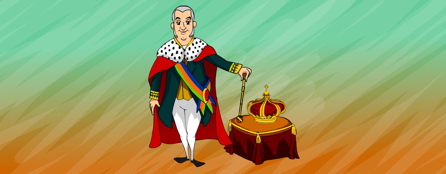 Ilustração: Fundo em tons claros de verde e laranja. No centro da imagem, aparece um homem em pé. Ele tem cabelos e costeletas grisalhos, olhos castanhos e um leve sorriso no rosto. Usa capa vermelha com detalhe branco e bolinhas pretas na altura do pescoço. Por baixo da capa, veste um sobretudo preto sobre camisa dourada. O homem usa uma faixa com listras azul, laranja e verde que atravessa a parte da frente do tronco diagonalmente do ombro até a cintura, veste calça branca com sapatos pretos. Uma das mãos do homem segura a capa e a outra ele e apoia um cetro sobre um banco acolchoado coberto com uma toalha vermelha com detalhes dourados. Sobre o banco, está uma grande coroa dourada com detalhes em vermelho.