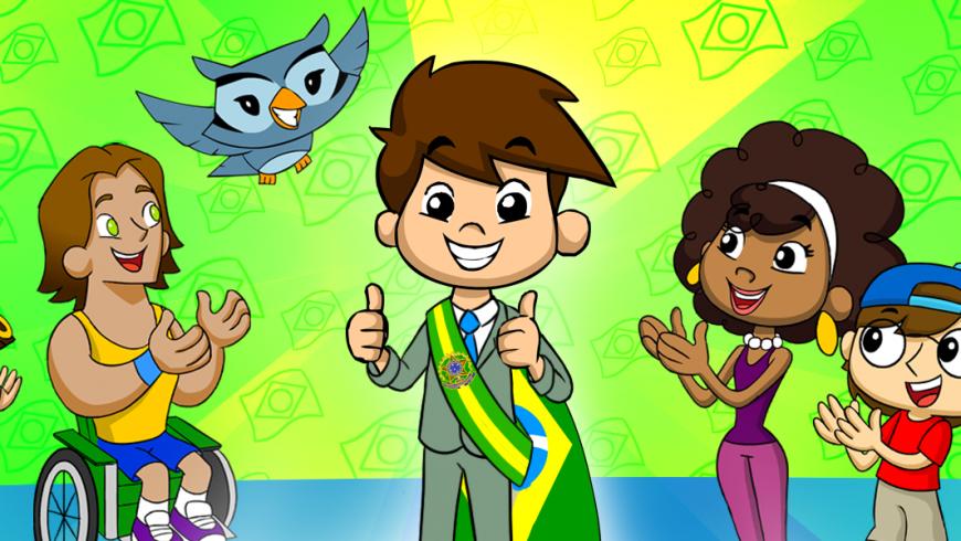 Ilustração. Fundo verde e amarelo com várias bandeiras do Brasil. Ao centro da imagem toda a turma está feliz e aplaude Zé Plenarinho, que está no meio de todos. Zé veste um terno verde claro, camisa branca, gravata azul e uma faixa do Brasil em seu ombro. Da esquerda para o centro da imagem está Xereta, Vital e Edu Coruja. Da direita para o centro da imagem aparecem Cida, Adão e Ana Légis.
