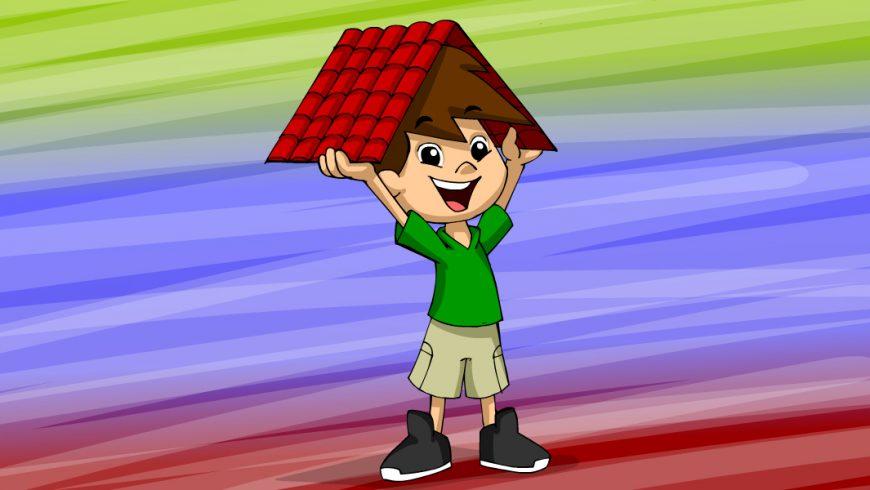 Ilustração. Fundo multicolorido. Zé Plenarinho está no centro da imagem e segura um telhado vermelho sobre a cabeça.