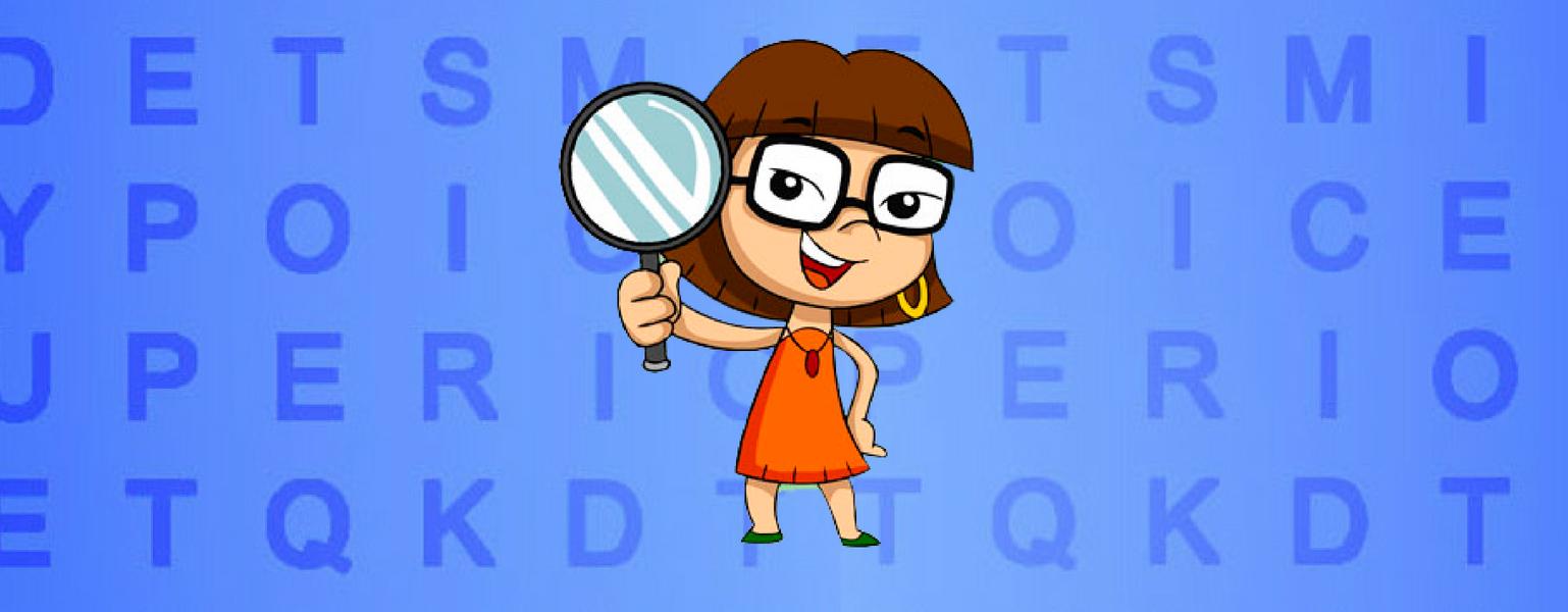 Ilustração. Fundo azul com várias letras do alfabeto em outro tom de azul. Ao centro, está Xereta. Ela sorri e segura uma lupa com uma mão enquanto a outra está apoiada na cintura.