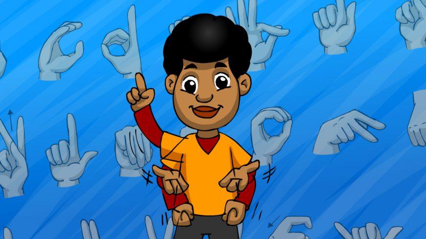 Ilustração. Fundo azul com várias mãos representando sinais em Libras. Ao centro da imagem há um garoto negro, com cabelo preto, vestido com uma camiseta laranja sobre uma blusa de manga longa vermelha e uma calça preta. O garoto faz sinais na Língua Brasileira de Sinais.