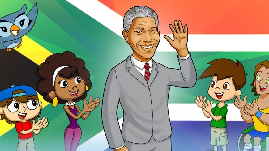 Ilustração. Fundo com a bandeira da África nas cores preto, vermelho, verde, amarelo, azul e branco. Ao centro da imagem está Nelson Mandela, ele é um senhor negro e com cabelos brancos. Ele usa um terno cinza com gravata vermelha. Nelson acena com a mão direita e sorri. Do lado direito da imagem está Zé Plenarinho, Vital e Xereta. Do lado esquerdo da imagem está Légis, Adão, Cida e Edu Coruja.