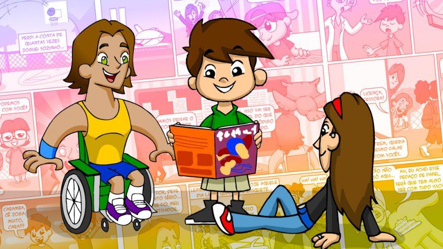 Ilustração. Fundo multicolorido com vários quadrinhos de gibis. Ao centro está Zé Plenarinho que sorri e lê uma revista. À direita da imagem está Cida sentada, virada para Zé Plenarinho. À esquerda está Vital. Ambos olham para Zé Plenarinho.