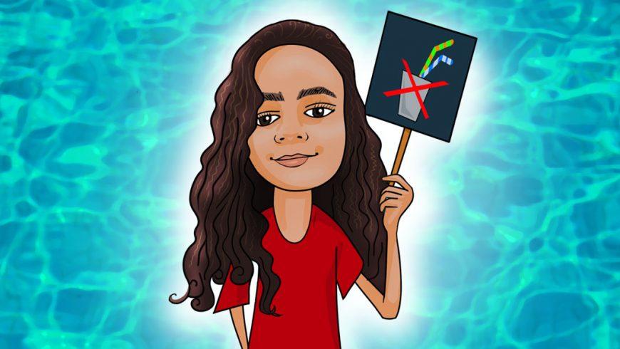 Esta é uma imagem com um fundo em tons de azul, como água. Ao centro da imagem aparece uma menina de camiseta vermelha e cabelos castanhos. Ela segura uma placa com um desenho de um grande x vermelho desenhado por cima de copo com dois canudos.