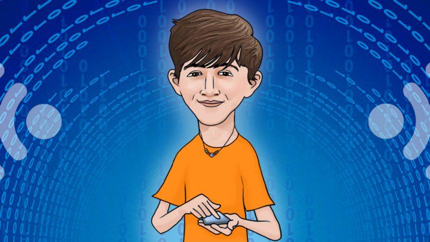 Ilustração. Fundo azul com o símbolo de um wi-fi em cada canto da imagem. Ao centro está um menino. Ele tem os cabelos castanhos escuros, veste uma blusa cor de laranja e usa um cordão no pescoço. O garoto sorri e segura um celular.